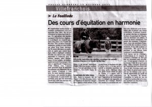 Write up in French Magazine about John's Horsemanship Courses
